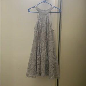 glittery sparkly gray dress